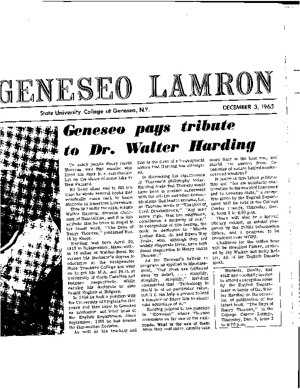 Geneseo pays tribute to Dr. Walter Harding.pdf