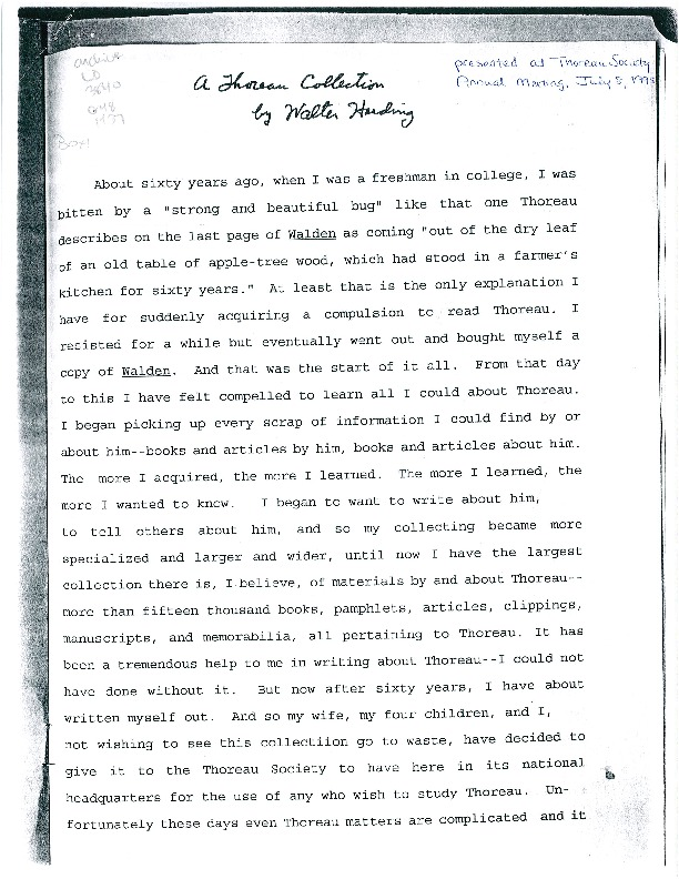 A Thoreau Collection by Walter Harding Donation Speech.pdf