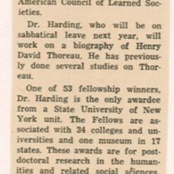 Dr. Walter Harding Receives Fellowship