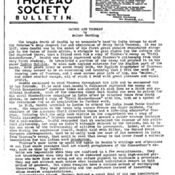 Thoreau Society Bulletin-- Gandhi and Thoreau