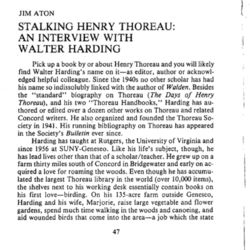 Stalking Henry Thoreau: An Interview with Walter Harding